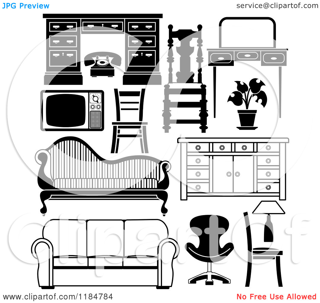 Clipart of Black and White Household Furniture Pieces.
