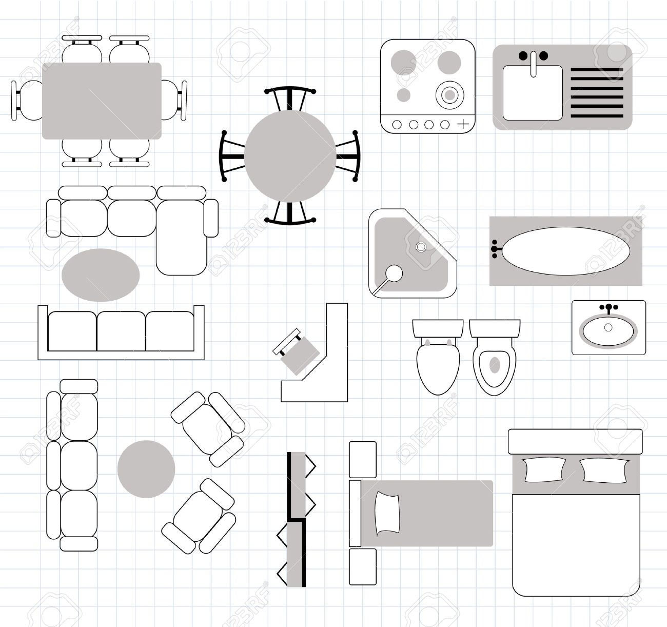 Floor Plan Furniture Clipart.
