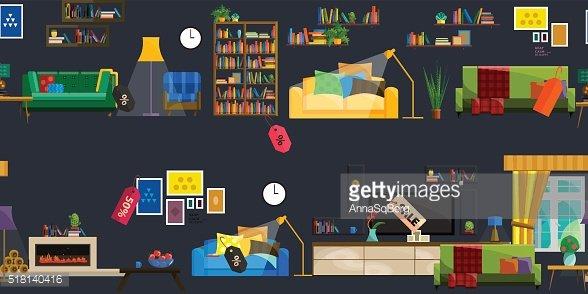 Furniture Shop Super Sale Vector Illustration Clipart Image.