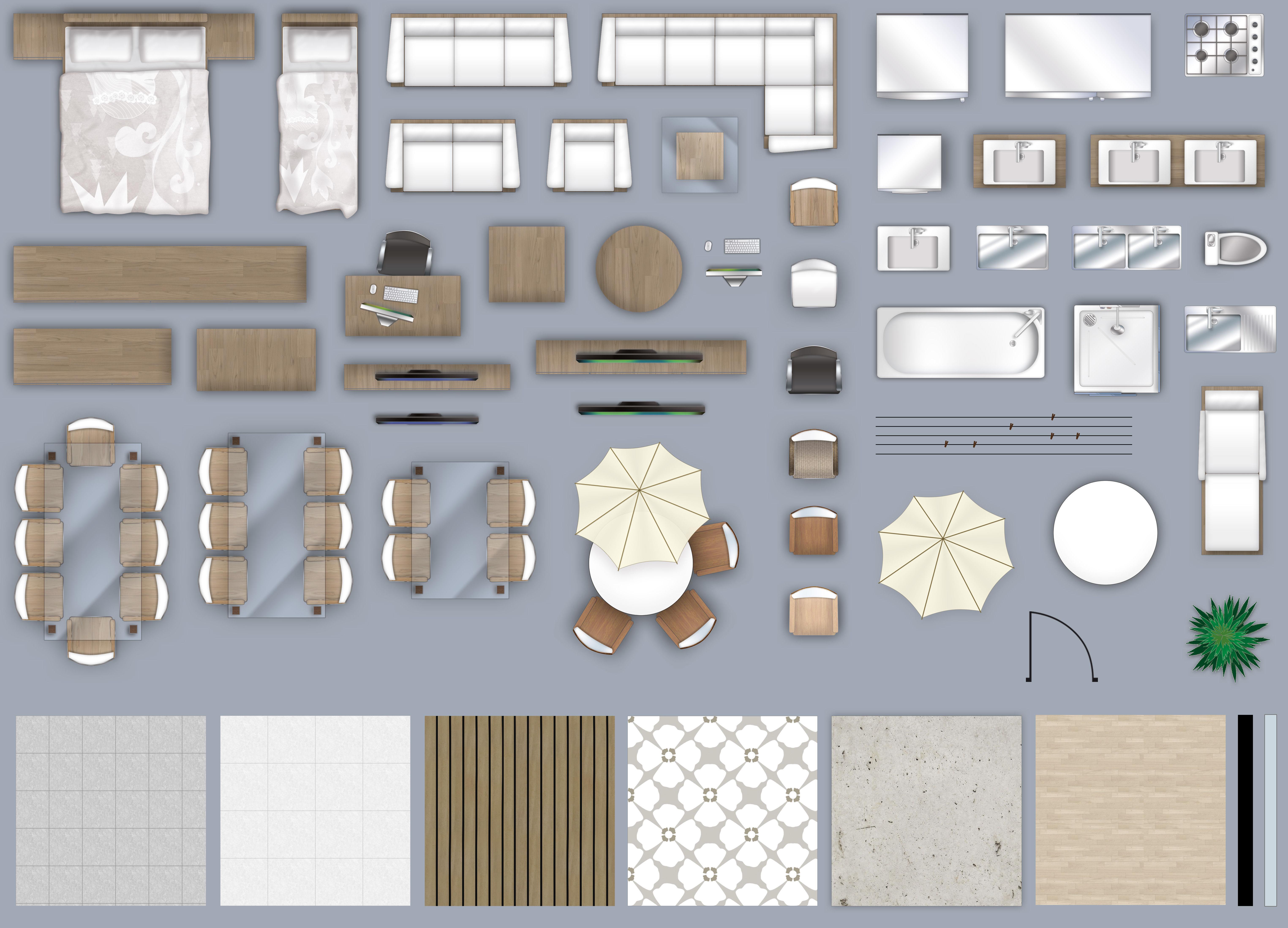 2d furniture floorplan top down view PSD.