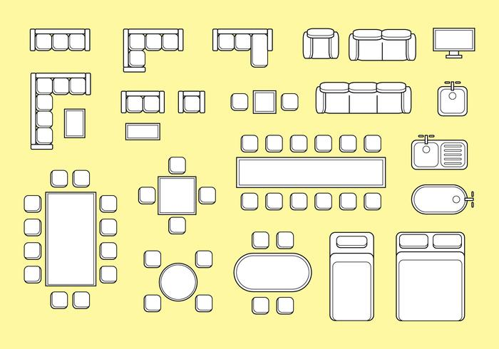 Floorplan Furniture Vector.
