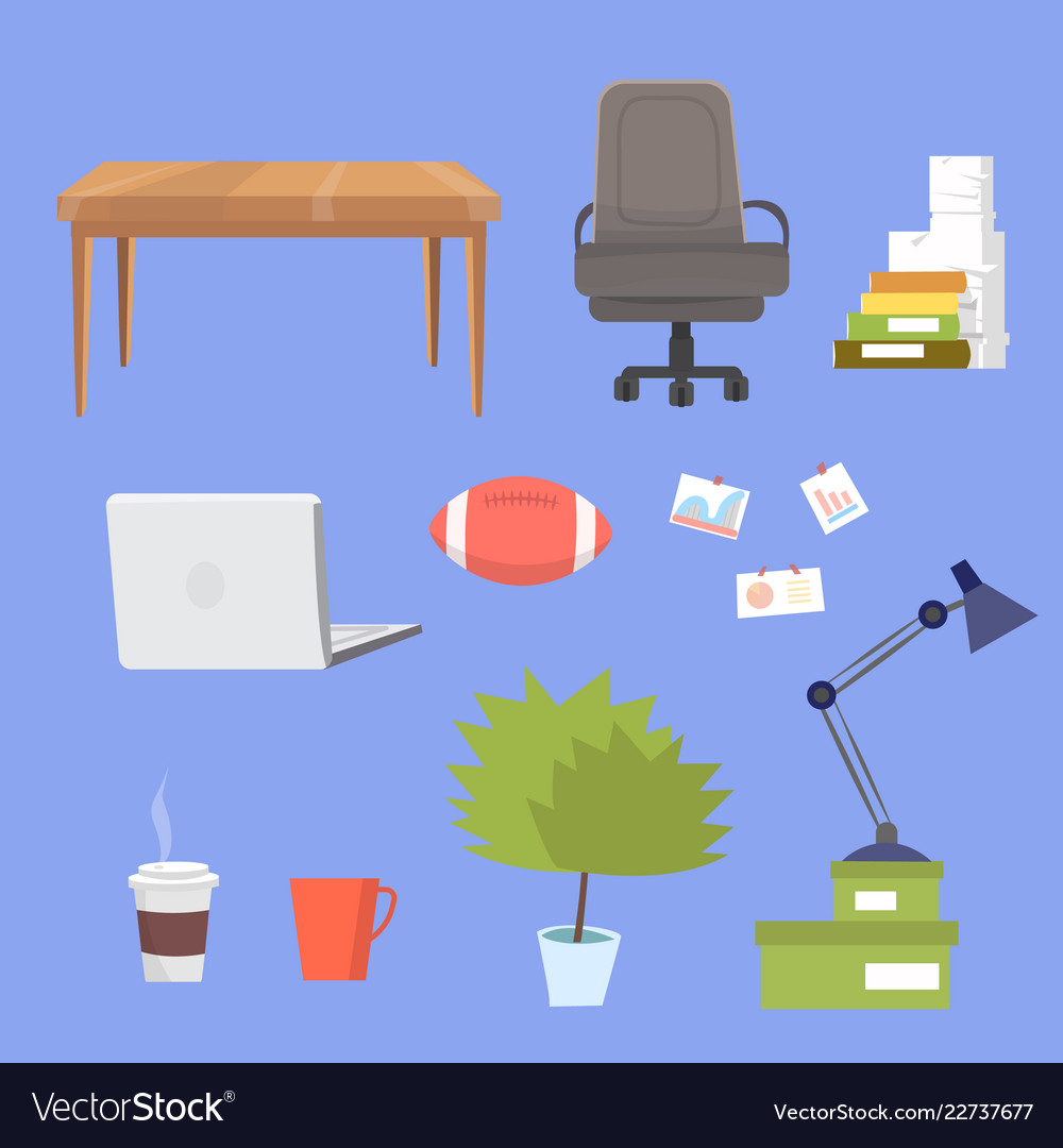 Small clipart collection with office furniture.