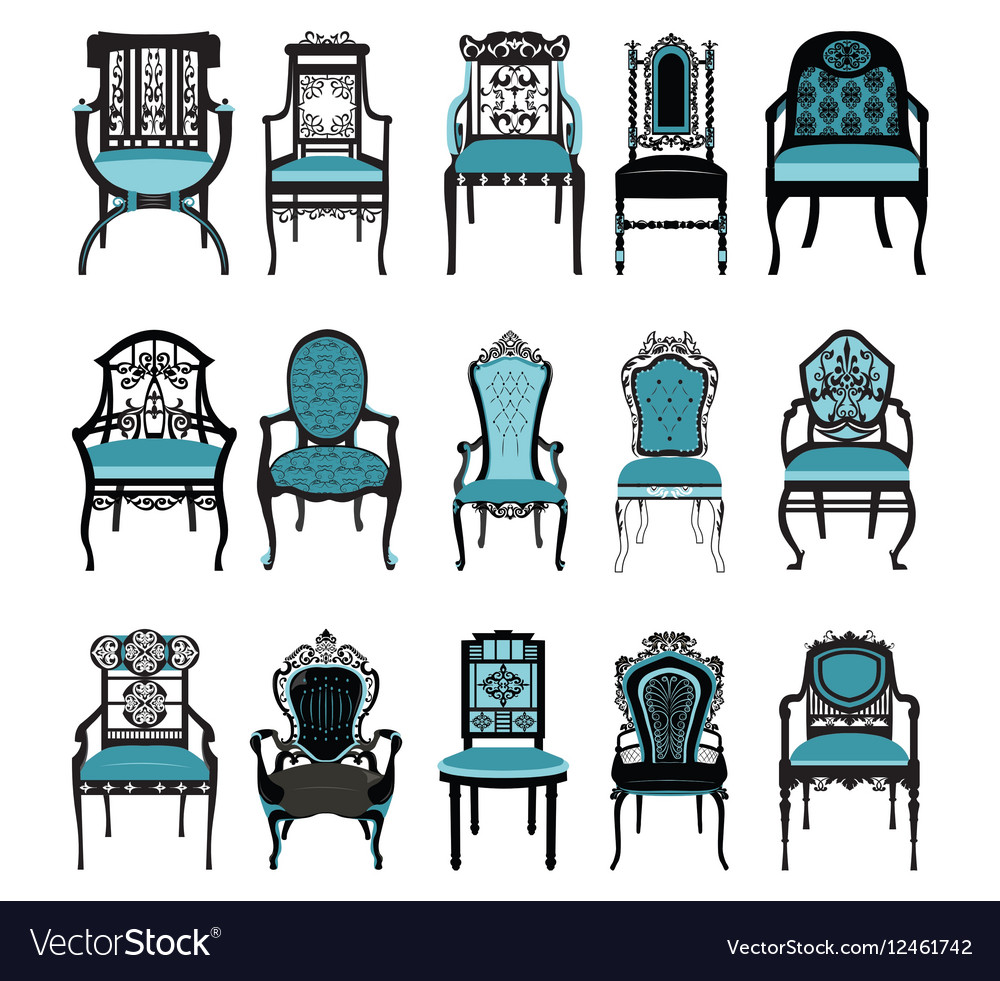 Vintage Chair furniture set collection.
