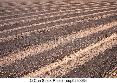 Stock Photo of Ploughed Field Furrows.