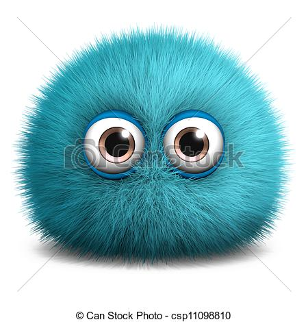 Clipart of furry blue monster csp11098810.