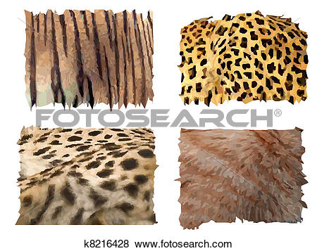 Clip Art of feline animals fur patterns k8216428.
