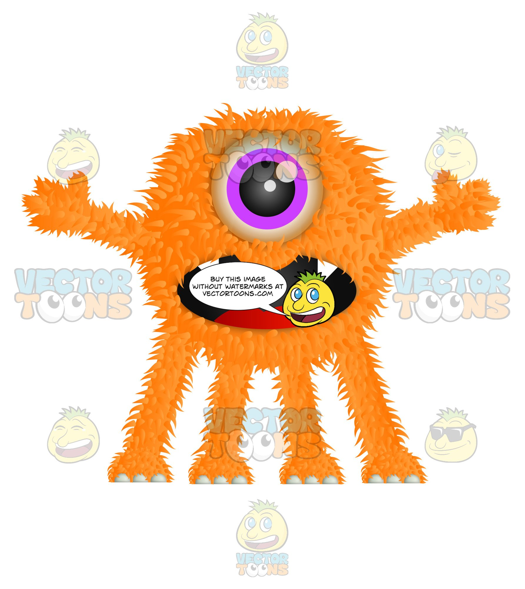 Orange Furry Monster With One Eye Sharp Teeth And Four Legs.