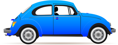 Blue VW Beetle vector graphics.