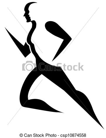 Clipart Vector of Running, illustration.