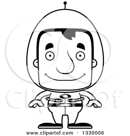 Lineart Clipart of a Cartoon Black and White Happy Block Headed.