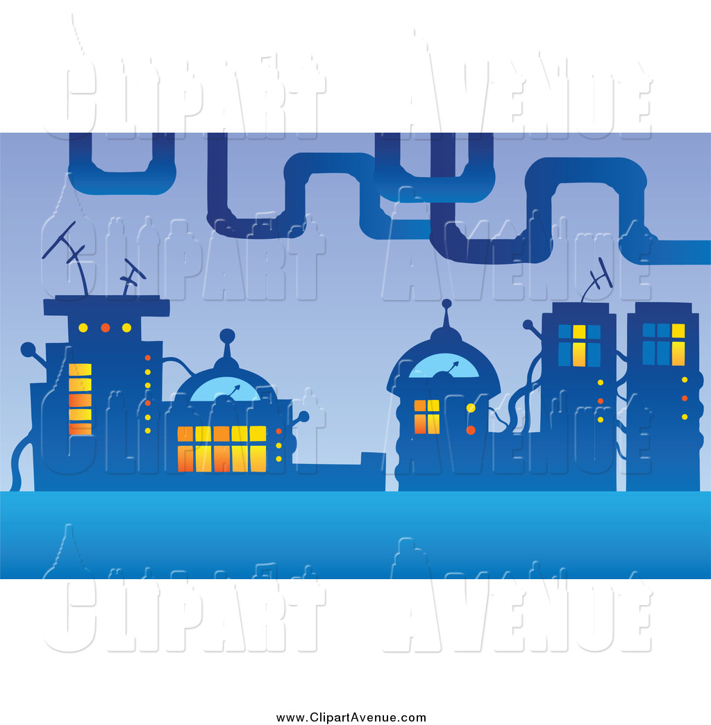 Avenue Clipart of a Futuristic City by visekart.