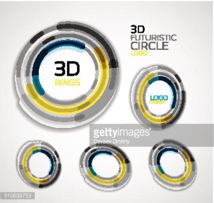 Futuristic circle business logo design Clipart Image.