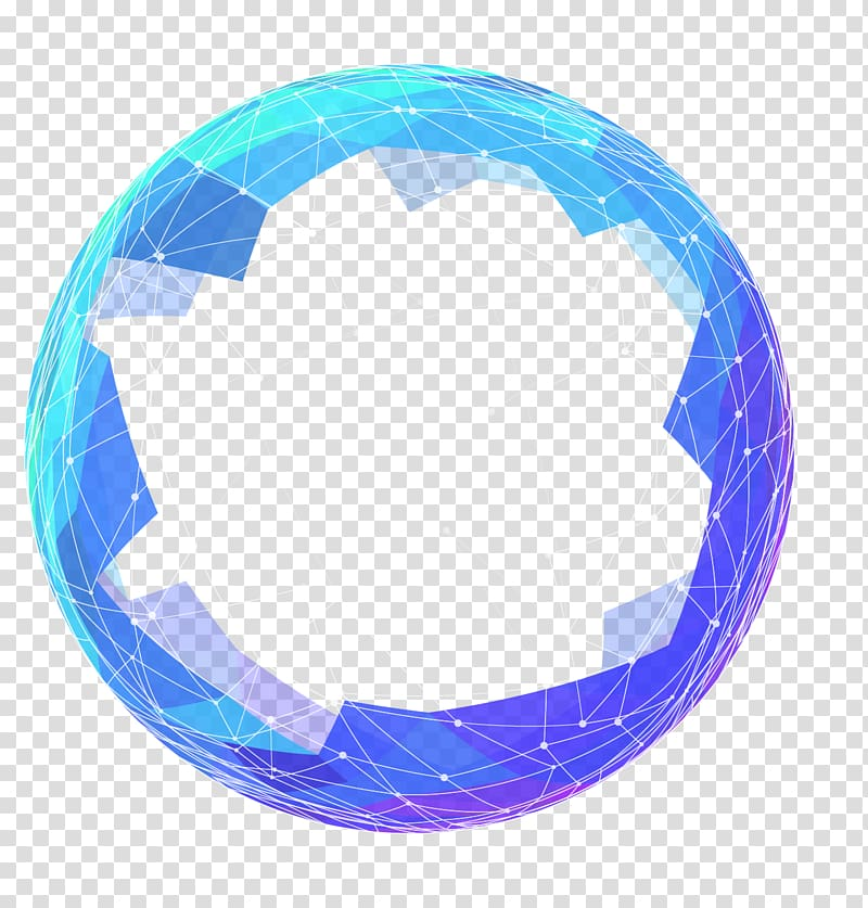 Round blue and purple ball illustration, Future ICO.