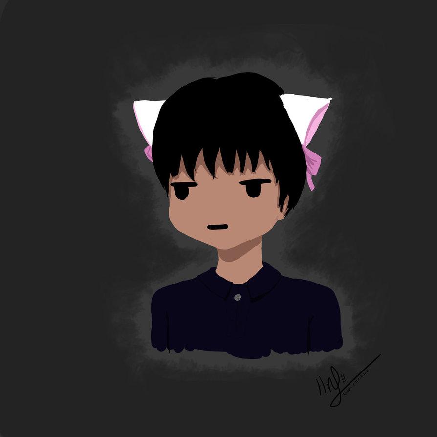 the boy and cat's ears by Hikari.
