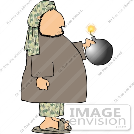 Terrorist Man Holding a Bomb With a Lit Fuze Clipart.