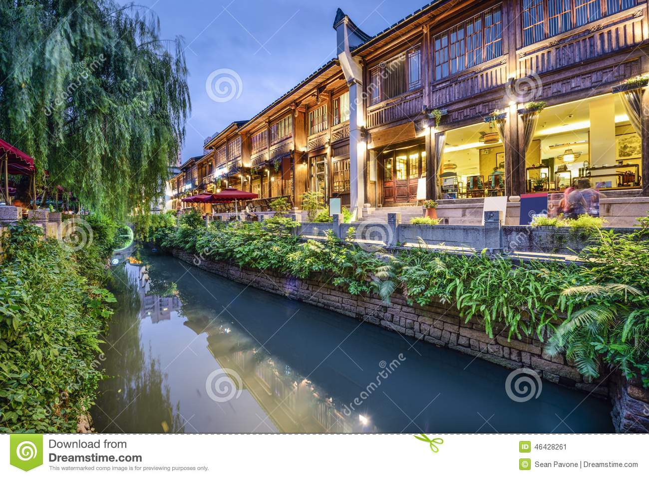 Fuzhou, China Traditional Shopping District Stock Photo.