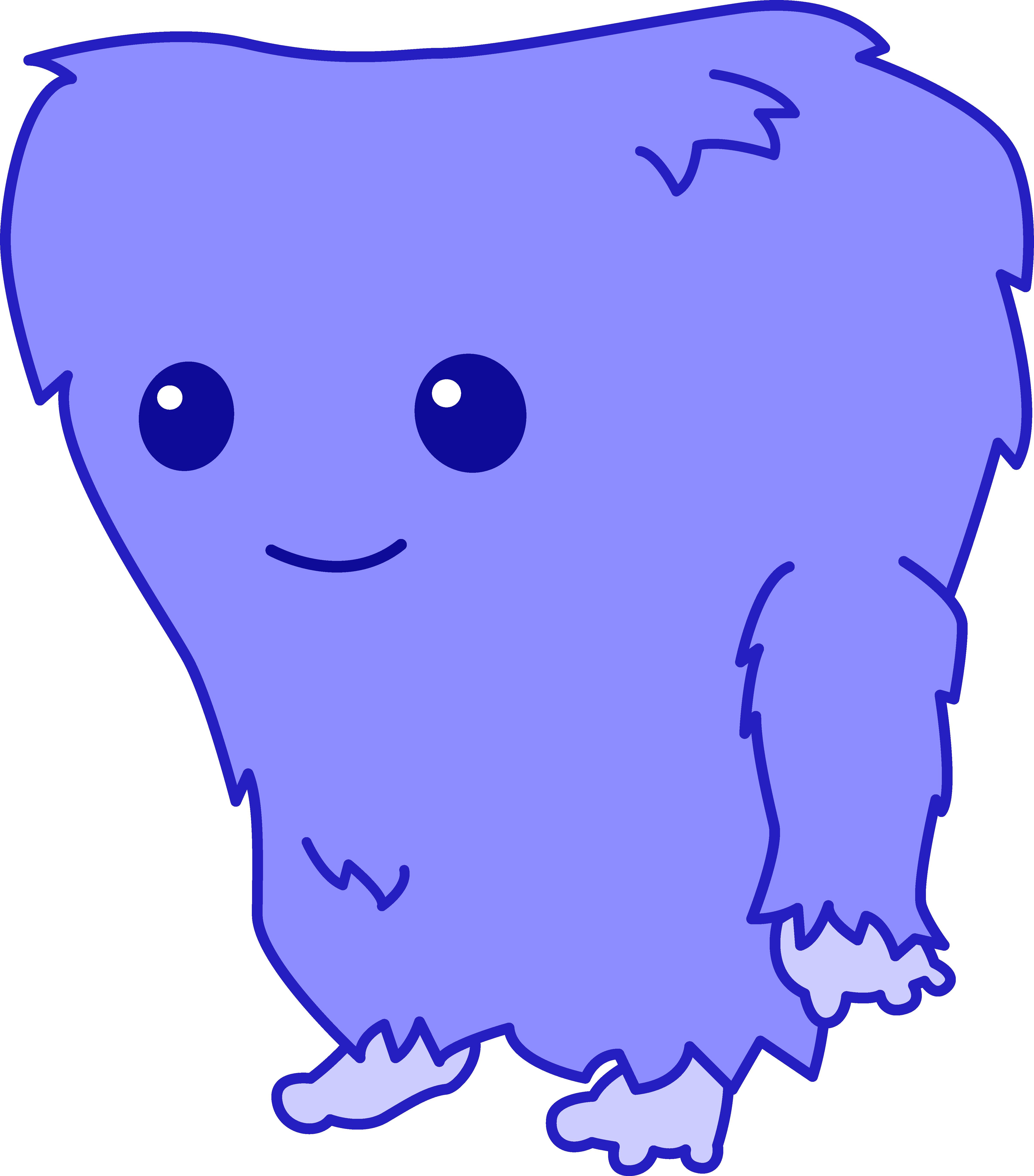 Cute Fuzzy Blue Monster.