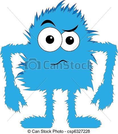 Blue Fuzzy Monster Dancing Clipart.