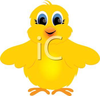 Cartoon Clipart of a Cute Fuzzy Yellow Bird.