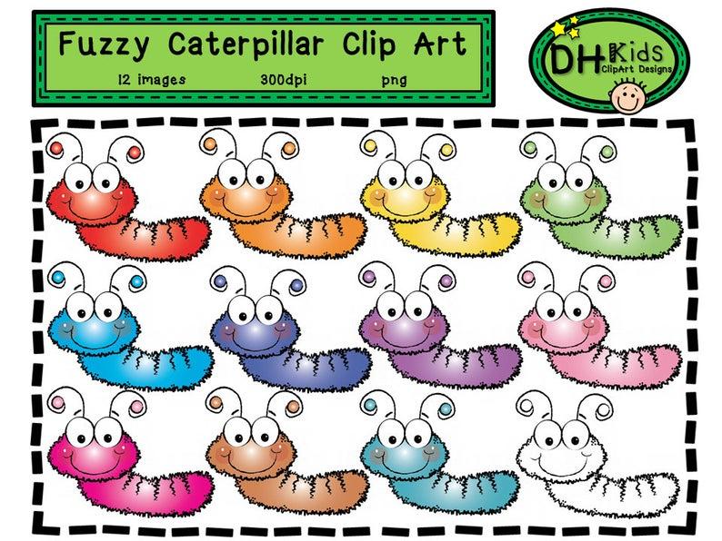 Fuzzy Caterpillar Clip Art.
