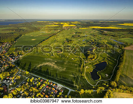 """Picture of """"Aerial view, Golf course, Fleesensee Golf Club, GC."""