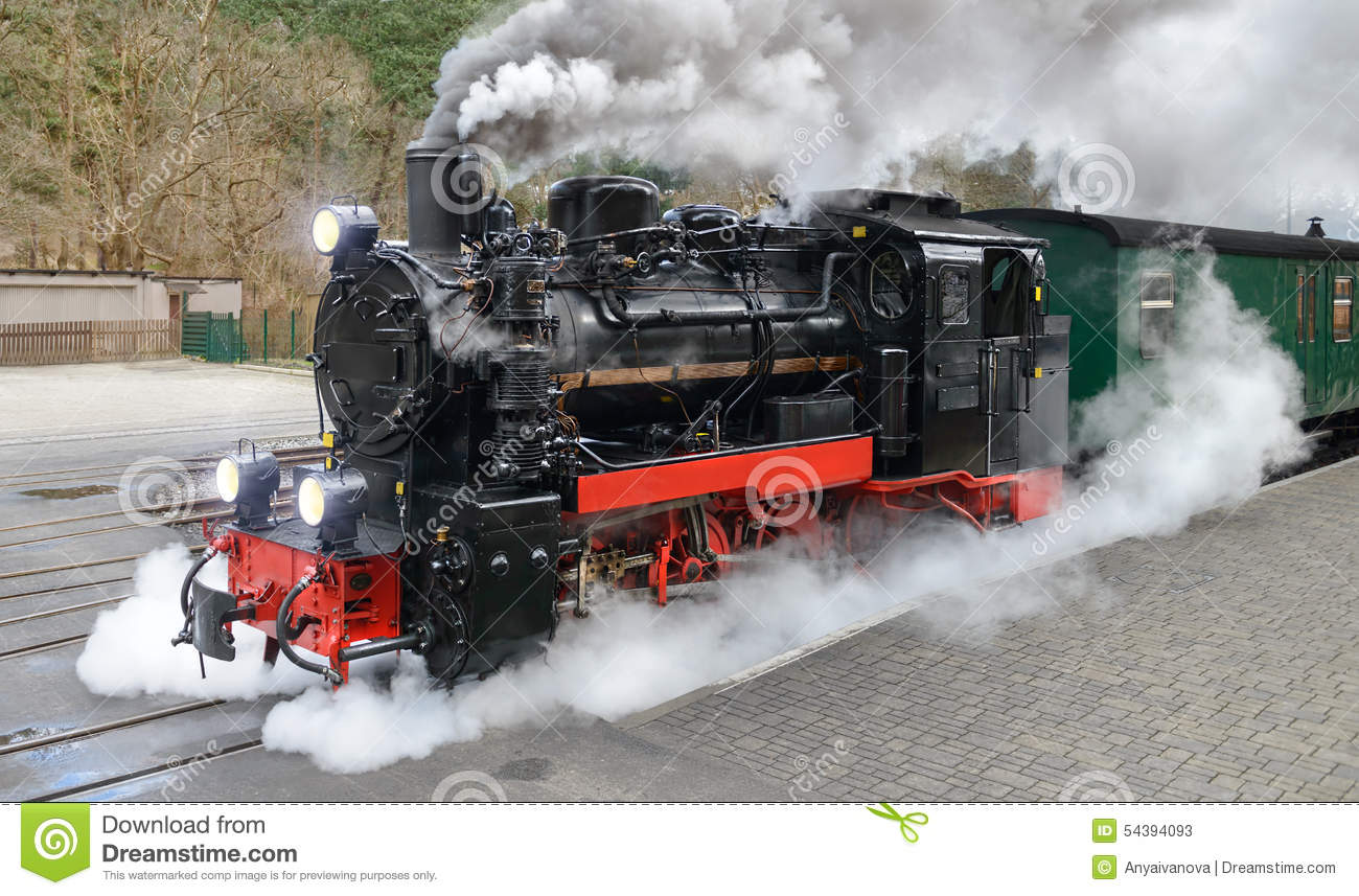 Historical Steam Train On Rugen In Germany Stock Photo.
