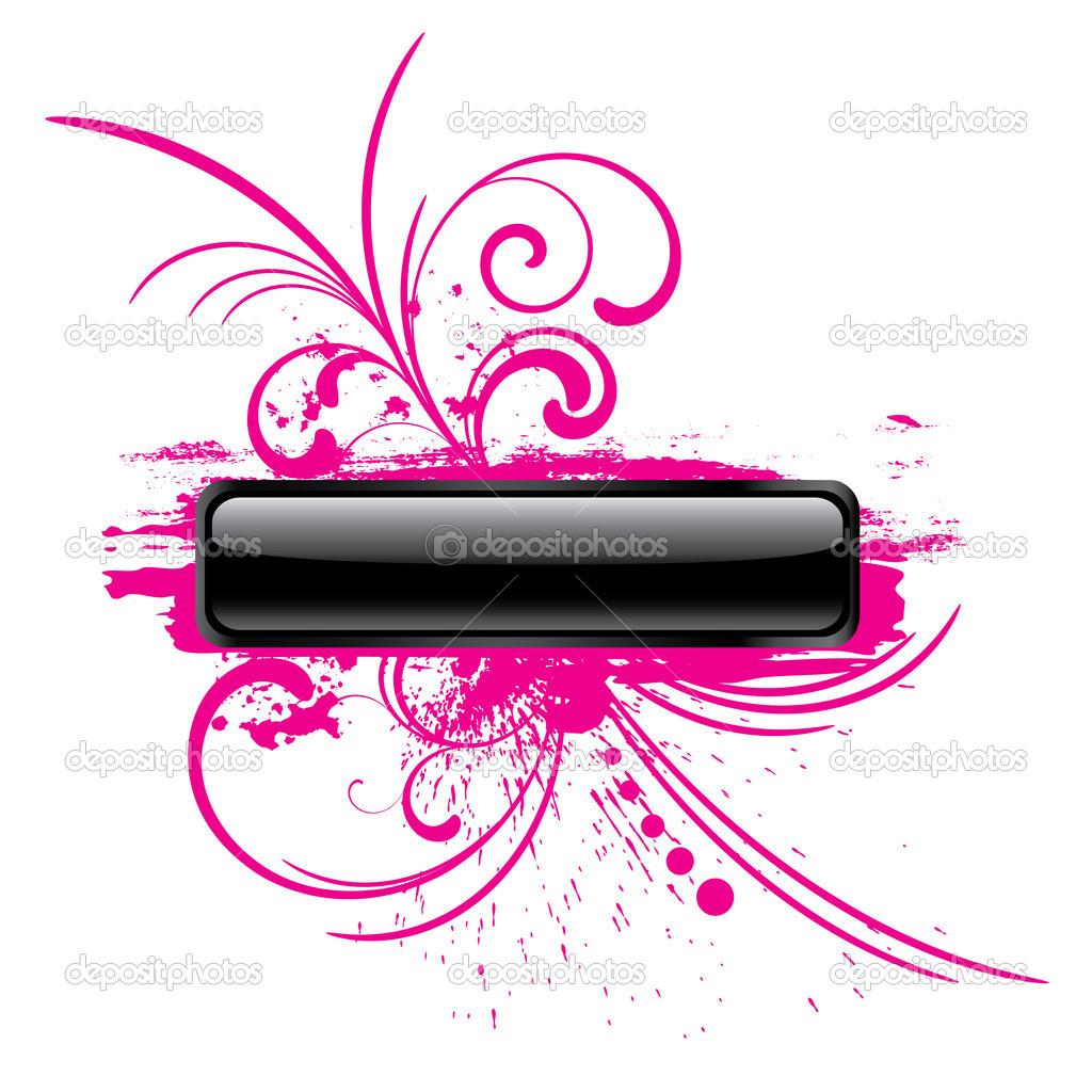 Rózsaszín fényes grunge téglalap alakú gombra — Stock Vektor.