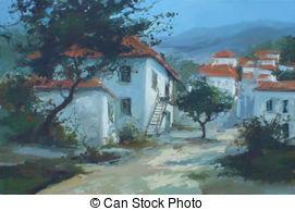 A görög, falu csp7230574 rajza.