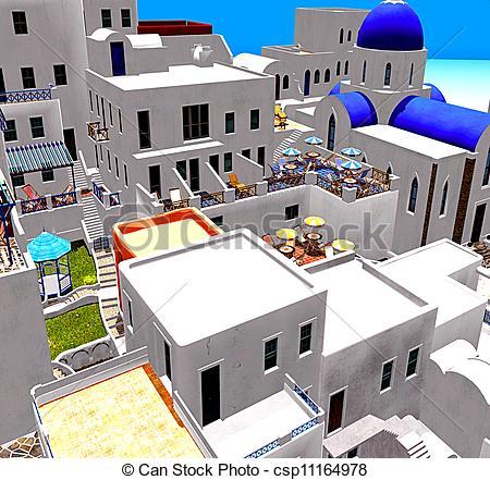 A görög, falu csp11164978 stock illusztációja.