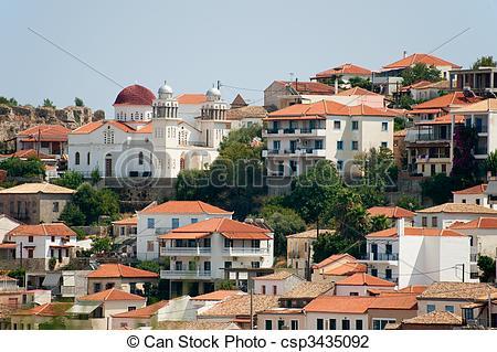 A görög, falu, Koroni, noha, épületek, Külső, alatt, táj.