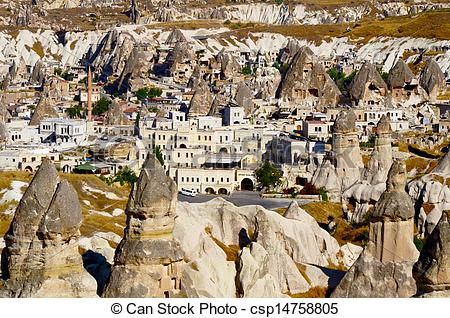 Stock Photography of Goreme town in Cappadocia, Turkey.