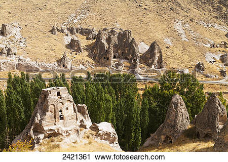 Stock Photography of Fairy chimneys and trees in an arid landscape.