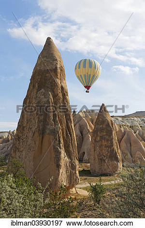 "Picture of ""Hot air balloon, Fairy Chimneys, tufa formations."