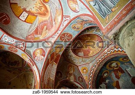 Stock Photo of Frescoes in Elmali church, Goreme Open Air Museum.