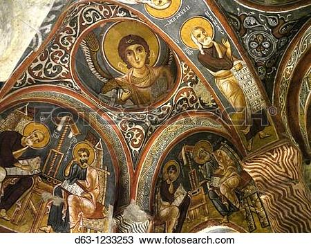 Stock Photo of Frescoes of the Karanlik Kilise (Dark Church, 12th.
