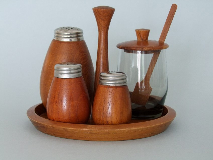 Teak salt and pepper.