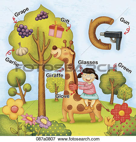 Clip Art of alphabet G study with illustration and words 087a0807.