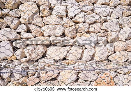 Stock Photo of Gabion wall k15750593.
