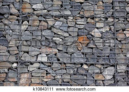 Stock Photography of Stone gabion wall k10843111.