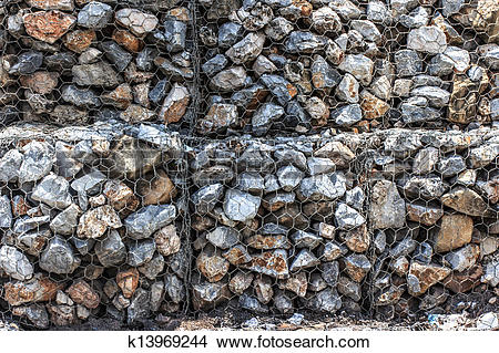 Stock Photo of Natural stones in retain A Steel mesh of gabion.