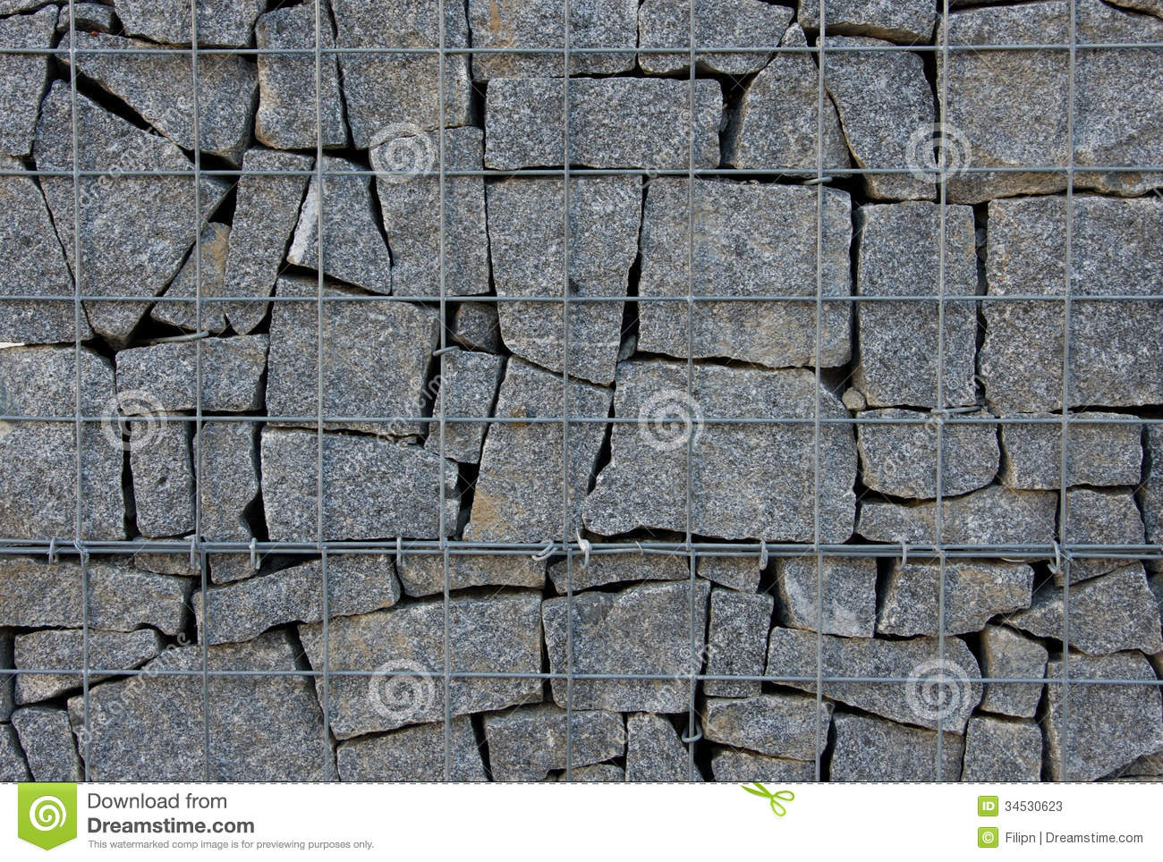 Gabion Stone Wall Stock Image.