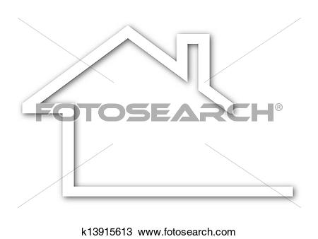 Clipart of house with a gable roof k13915613.