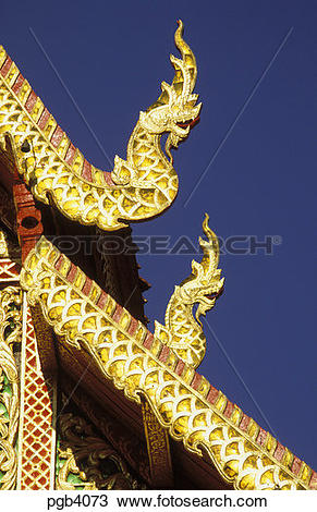 Stock Photo of Thailand. Bangkok. Detail of heavily decorated.