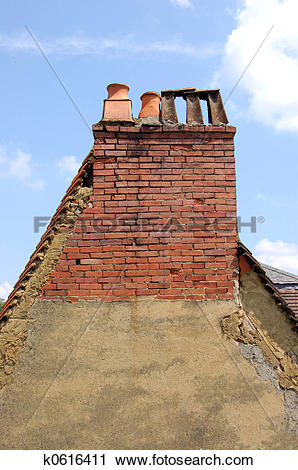 Stock Photography of Gable end with chimneys k0616411.