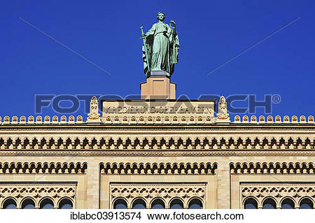 """Stock Photo of """"Justizia, gable figure on the building of the."""