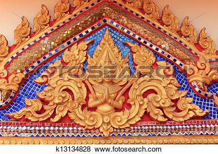 Pictures of Angel figure decoration on Thai temple gable k13134828.