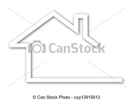 Vector Clip Art of house with a gable roof.