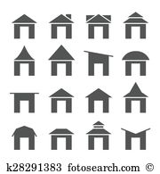 Gabled roof Clip Art Vector Graphics. 20 gabled roof EPS clipart.