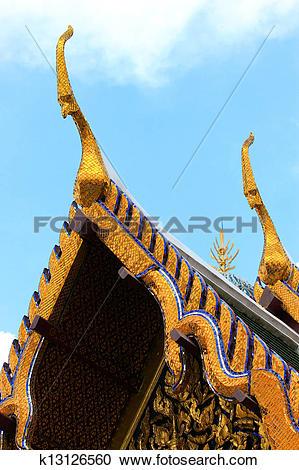 Stock Photography of Thai styled gable apex in Wat Pra Kaew.