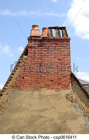 Stock Photography of Gable end with chimneys.